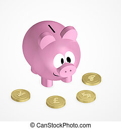 piggy bank with coins over bright background - pink piggy...