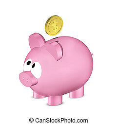 piggy bank with dollar coin isolated over white - pink piggy...