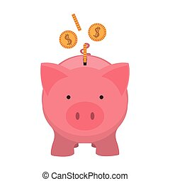 pink piggy bank with dollar coins