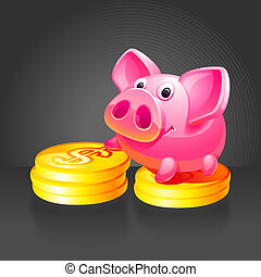 Pink piggy bank with gold coins.