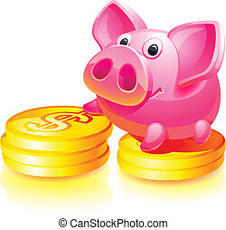 Pink piggy bank with gold coins