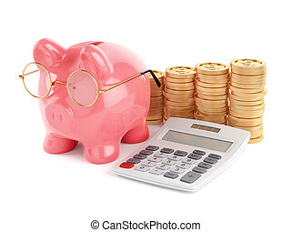 Pink piggy bank with golden coins and calculator