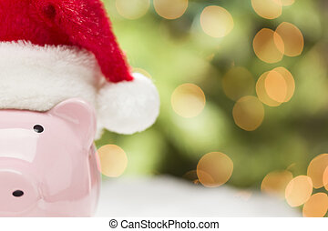 Pink Piggy Bank with Santa Hat on Snowflakes - Pink Piggy...