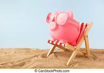 Pink Piggy Bank With Sunglasses On The Deck Chair At Beach
