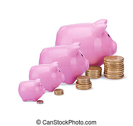 Pink piggy banks - Different banks - different money. ...
