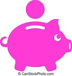 Pink piggy money box icon
