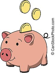 Pink piggy moneybox with coins. Saving money concept. Line colored vector illustration. Isolated on white background