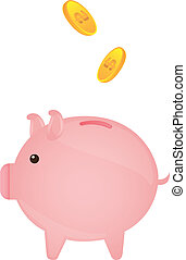 piggy - pink piggy with gold coins over white background....