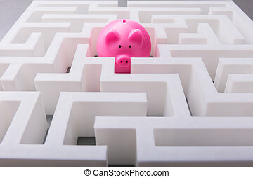 Pink Piggybank In The Centre Of Maze