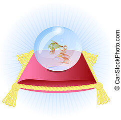 pink pillow and a goldfish in a blue glass bowl
