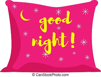 pink pillow of good night. Vector illustration