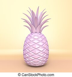 Pink pineapple 3D render illustration