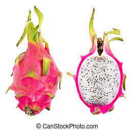 pink pitahaya dragon fruit over white background