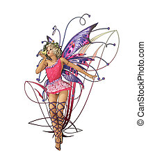 Pink Pixie - A charming fairy with wings, wreath and a frog...