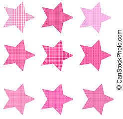 Pink Plaid Star Shapes