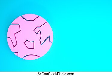 Pink Planet Earth icon isolated on blue background. Minimalism concept. 3d illustration 3D render
