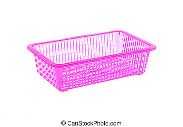 pink plastic baskets on white background