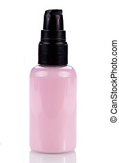 pink plastic bottle of cosmetic cream isolated on white