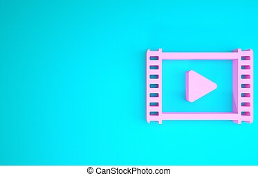 Pink Play Video icon isolated on blue background. Film strip with play sign. Minimalism concept. 3d illustration 3D render