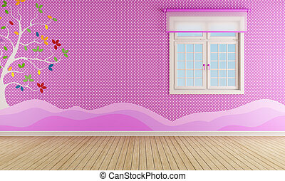 Pink room for girl with window and decoration on wall - rendering