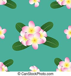 Pink Plumeria, Frangipani on Green Teal Background. Vector Illustration