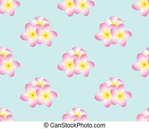 Pink Plumeria, Frangipani Seamless on Light Blue Background