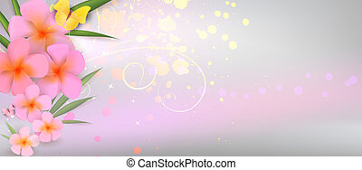 Pink plumerias on abstract shiny background