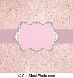 Pink polka dot design frame with dot. EPS 8