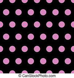 pink polka dots on black background