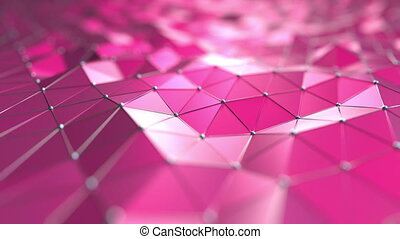Pink polygonal motion background. Seamless loop
