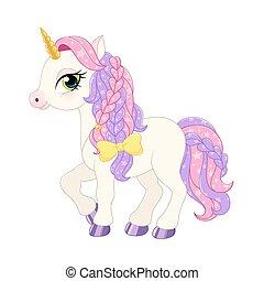 Pink pony illustration. - lllustration of a pink pony on a...