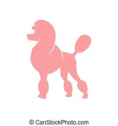 Pink poodle - Silhouette image of poodle dog. vector...