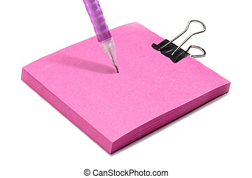 pink post note pad with clip and pink pen