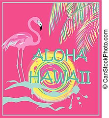 Pink poster with Aloha Hawaii lettering, neon palm leaves,...