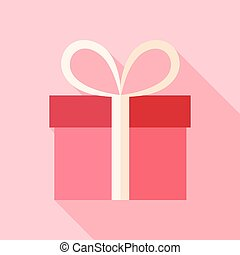 Pink present box. Flat stylized object with long shadow