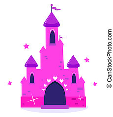 Pink Princess cartoon castle isolated on white - Wild pink...