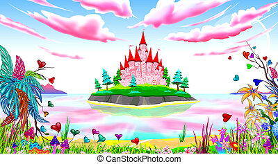 Pink princess castle fairytale landscape