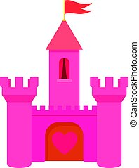 Pink princess castle icon, cartoon style