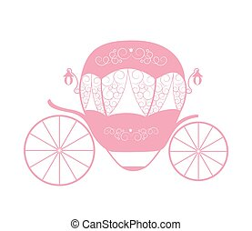 Pink Princess Cinderella Fairytale carriage. Vector Illustration