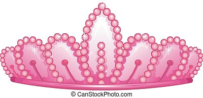 Pink Princess Crown - Illustration of a Cute Pink Crown...