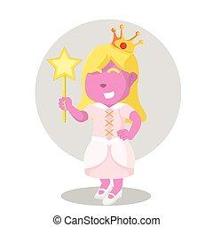 pink princess holding wand
