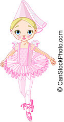 Illustration of a cute little ballerina dressed like princess