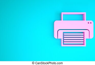 Pink Printer icon isolated on blue background. Minimalism concept. 3d illustration 3D render