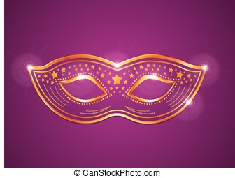 Pink purple and gold velvet costume mask. Vector carnival or...
