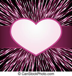 Pink purple explosion of light with centered heart frame with space for your text. Great for your romantic designs, or for Valentines day.