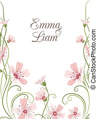 Pink purple gypsophila flowers wedding invitation - ...