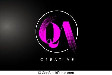 Pink QA Brush Stroke Letter Logo Design. Pink Paint Logo Leters Icon with Elegant Circle Vector Design.