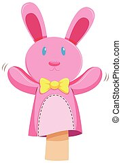 Pink rabbit hand puppet illustration