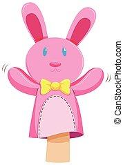 Pink rabbit hand puppet illustration