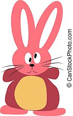 Pink rabbit, illustration, vector on white background.